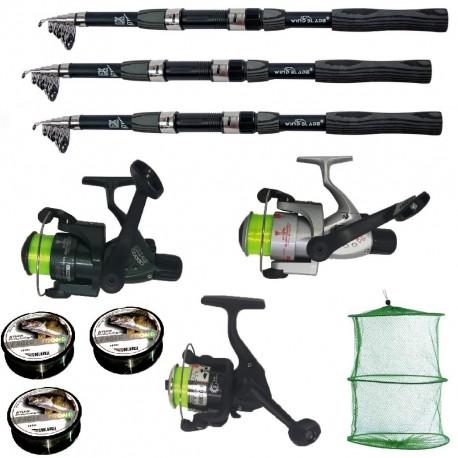 Set pescuit sportiv cu lanseta Wind Blade de 2.7metrii, 3 mulinete, 3 fire si juvelnic cu 3 inele