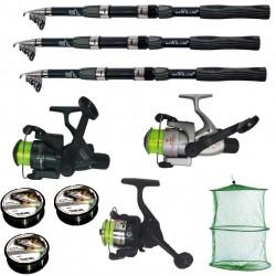 Set pescuit sportiv cu lanseta Wind Blade de 3,6 m, 3 mulinete, 3 fire si juvelnic cu 3 inele