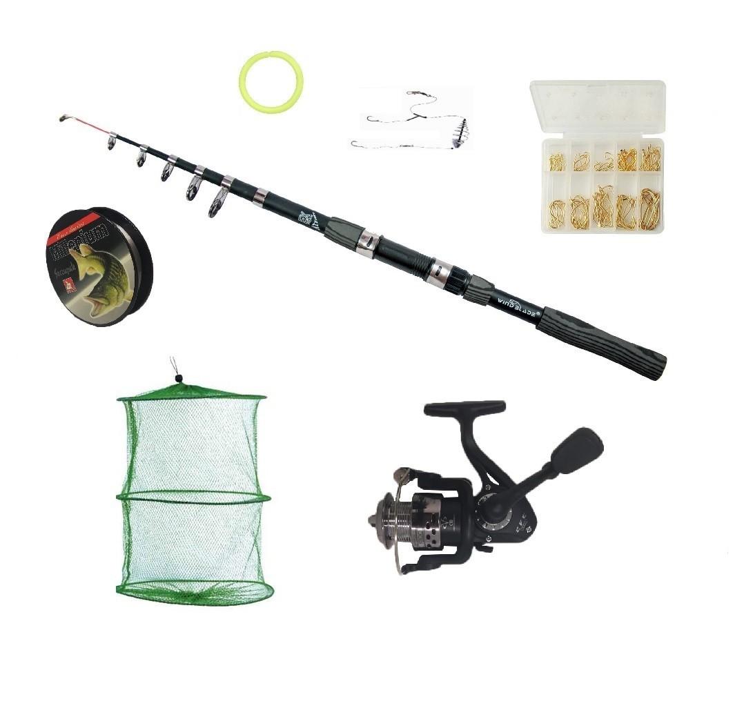 Set complet de pescuit cu lanseta Wind Blade de 3,6 m, mulineta CFC2000, juvelnic, 70 de ace pe diferite marim imagine techstar.ro 2021