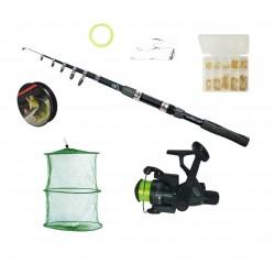 Set pescuit sportiv cu lanseta Wind Blade de 3,6 m, mulineta Cobra CB340 cu 3 rulmenti, juvelnic, 70 de ace pe