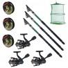 Set pescuit sportiv cu lanseta EastShark de 3m, 3 mulinete CFC2000, 3 fire si juvelnic cu 3 inele