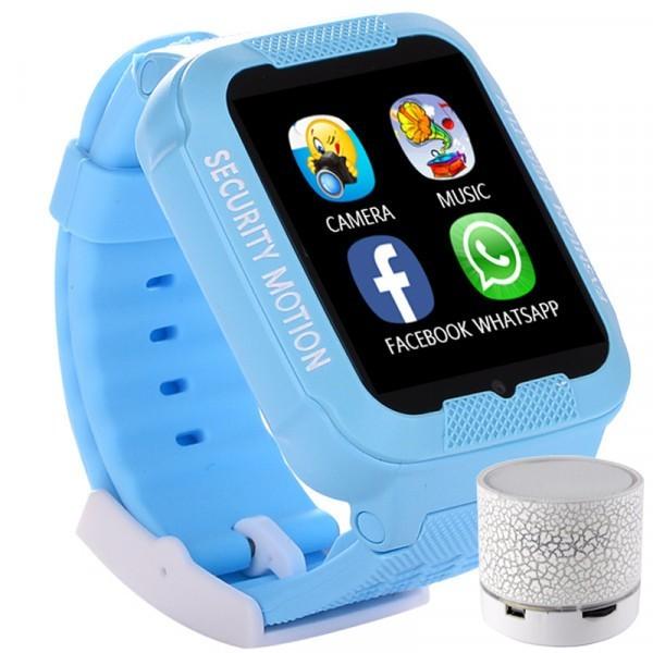 Ceas GPS Copii iUni Kid3, Telefon incorporat, Touchscreen 1.54 inch, Bluetooth, Notificari, Camera, Albastru + Boxa Cadou