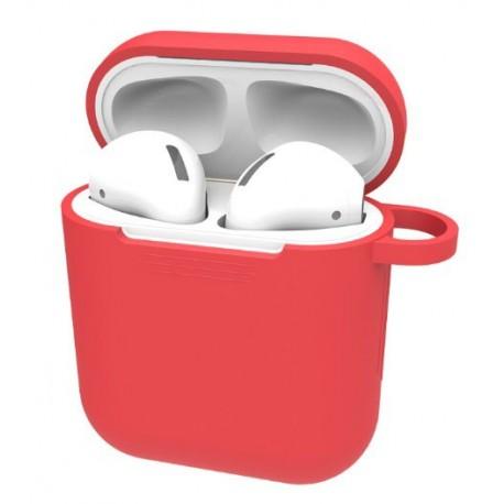 Set husa rosie plus cordon anti pierdere, silicon, pentru casti airpods