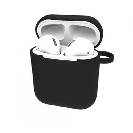 Set husa neagra plus cordon anti pierdere, silicon, pentru casti airpods
