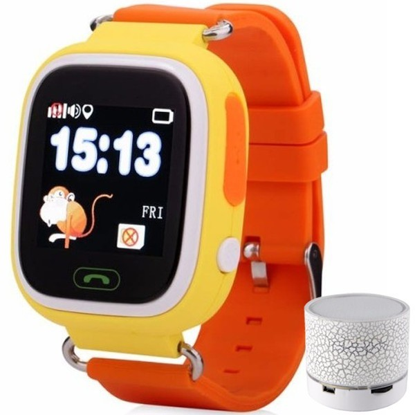 Ceas Smartwatch cu GPS Copii iUni Kid100, Touchscreen, BT, Telefon incorporat, Buton SOS, Orange + Boxa Cadou imagine techstar.ro 2021