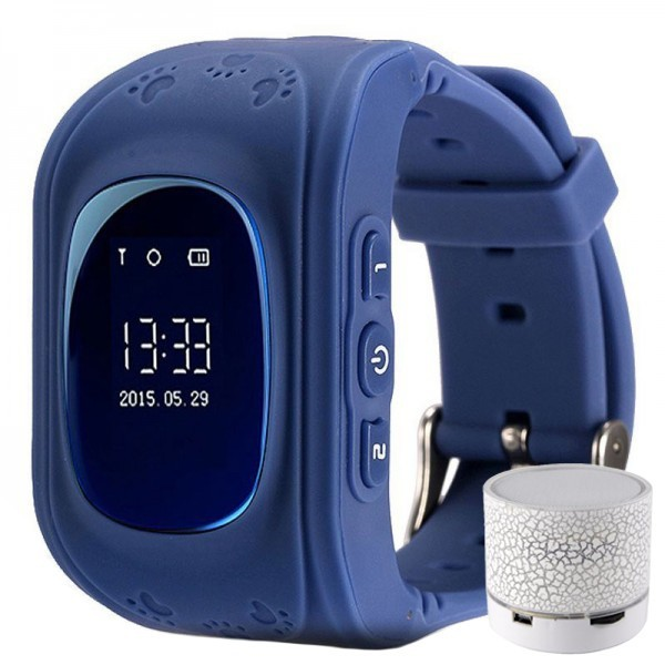 Ceas cu GPS Tracker si Telefon pentru copii iUni Kid60, BT, Apel SOS, Activity & sleep, Bleumarin + Boxa Cadou
