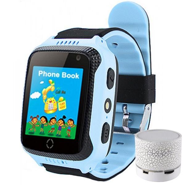 Ceas GPS Copii iUni Kid530, Touchscreen, Telefon incorporat, BT, Camera Lanterna, Buton SOS, Albastru + Boxa