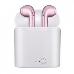 Casti Audio Wireless cu Bluetooth i7S Rose Tip in-ear pentru IOS si Android