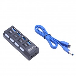 In curand - USB Hub 3.0 High Speed, 4 Port USB 3.0, Buton On/Off cu Incarcator si conectiune USB