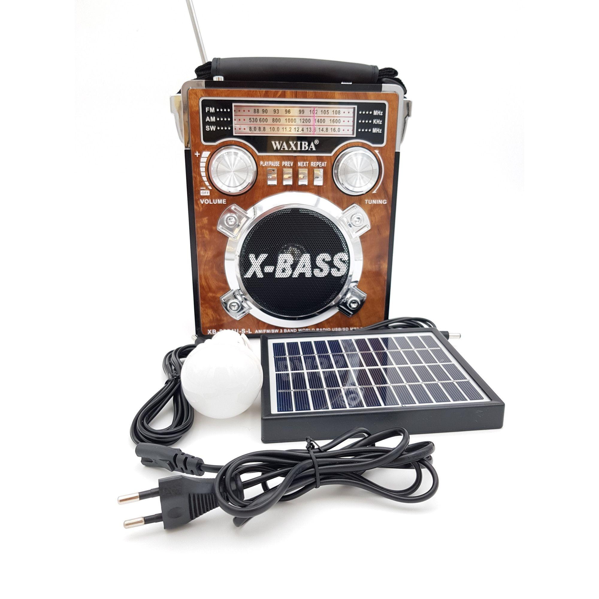 Radio MP3 portabil cu proiector si panou solar