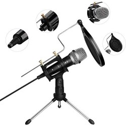 Microfon Profesional BM400 Techstar®, Inregistrare Vocala Si Karaoke, Negru