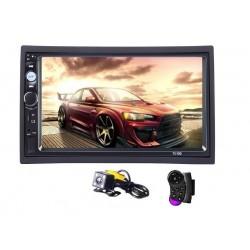 2Din mp5 player auto universal 7010B, Navigatie MirrorLink Rama Camera marsarier Telecomanda volan