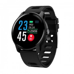 Smartwatch Techstar® S08 Negru Unisex Waterproof IP68 BT 4.0, Ecran 1.3 inch Conectare Android si iOS