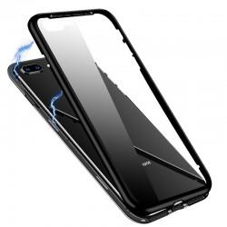 Husa de protectie 360, iPhone X/XS , magnetica cu sticla tempera 9H pe spate, Negru
