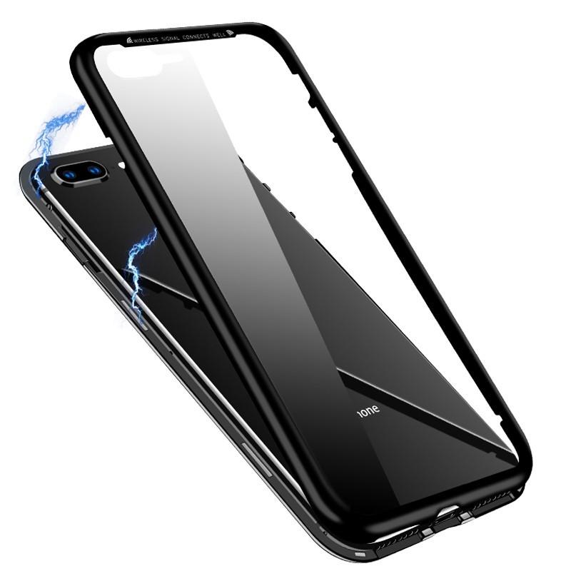 Husa de protectie 360, iPhone X/XS , magnetica cu sticla tempera 9H pe spate, Negru imagine techstar.ro 2021