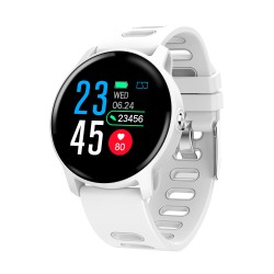 Smartwatch Techstar® S08 Alb Unisex Waterproof IP68 BT 4.0, Ecran 1.3 inch Conectare Android si iOS