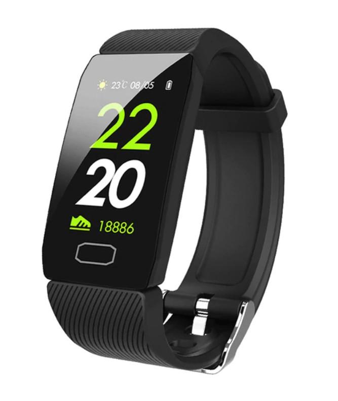 Bratara Fitness Smart Techstar® Q1 Negru, Monitorizare Cardiaca, Sedentary, Bluetooth, IP65, Ecran IPS