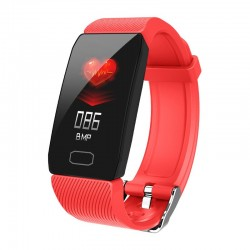 Bratara Fitness Smart Techstar® Q1 Rosu, Monitorizare Cardiaca, Sedentary, Bluetooth, IP65, Ecran IPS