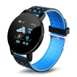 Ceas Smartwatch Techstar® 119 Albastru, 1.3 inch IPS, Monitorizare Cardiaca, Tensiune. Oxigenare, Sedentary, Bluetooth, IP65