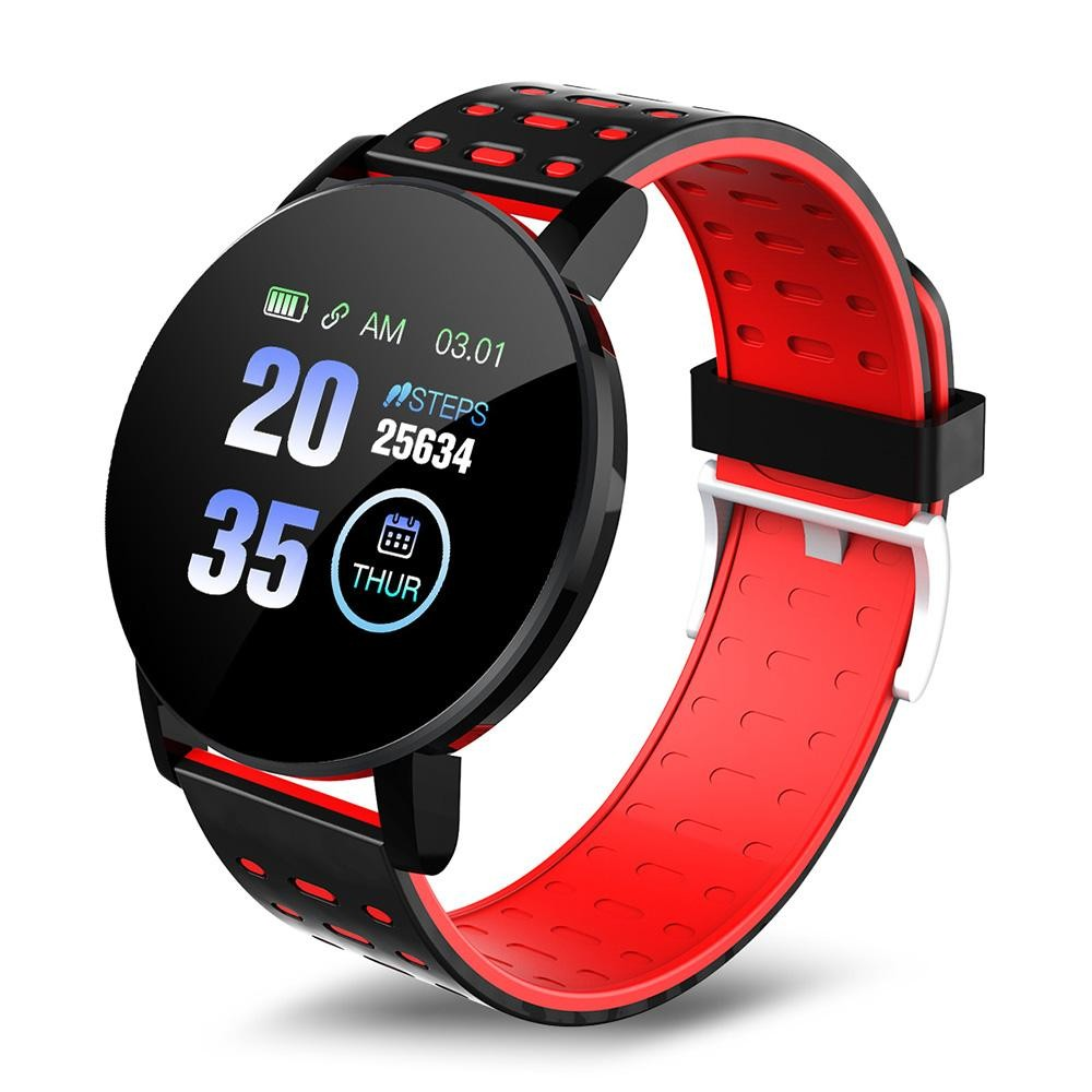 Ceas Smartwatch Techstar® 119 Rosu, 1.3 inch IPS, Monitorizare Cardiaca, Tensiune. Oxigenare, Sedentary, Bluetooth, IP65 imagine