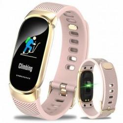 Bratara Techstar® Fitness B11 Roz, IPS, Bluetooth 4.0, IP65, Monitorizare Cardiaca, Tensiune. Oxigenare, Hidratare