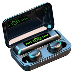 Casti F9 Smart Techstar®, Wireless, Bluetooth V5.0, SplashResistent, Touch, iOS, 2200mAh, Android, Negru