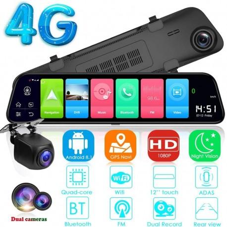 "Camera Auto Dubla Tip Oglinda T40S , Android 8.1, 4G si WiFi, 12"" IPS Touch Full HD, Hotspot, ADAS, GPS, Car Assist"