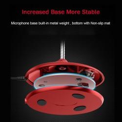 Microfon 360° Premium Techstar® Rosu, Pentru Birou, Studio, Voice, Gaming, Chat, USB, Baza Solida