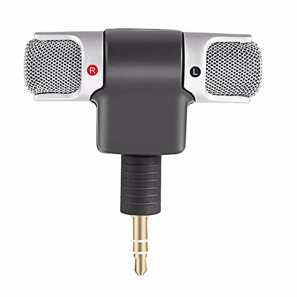 Microfon Stereo Super Mini Techstar® Pentru Telefon, Laptop, Tableta, Interviu, Portabil. 90° Mobil