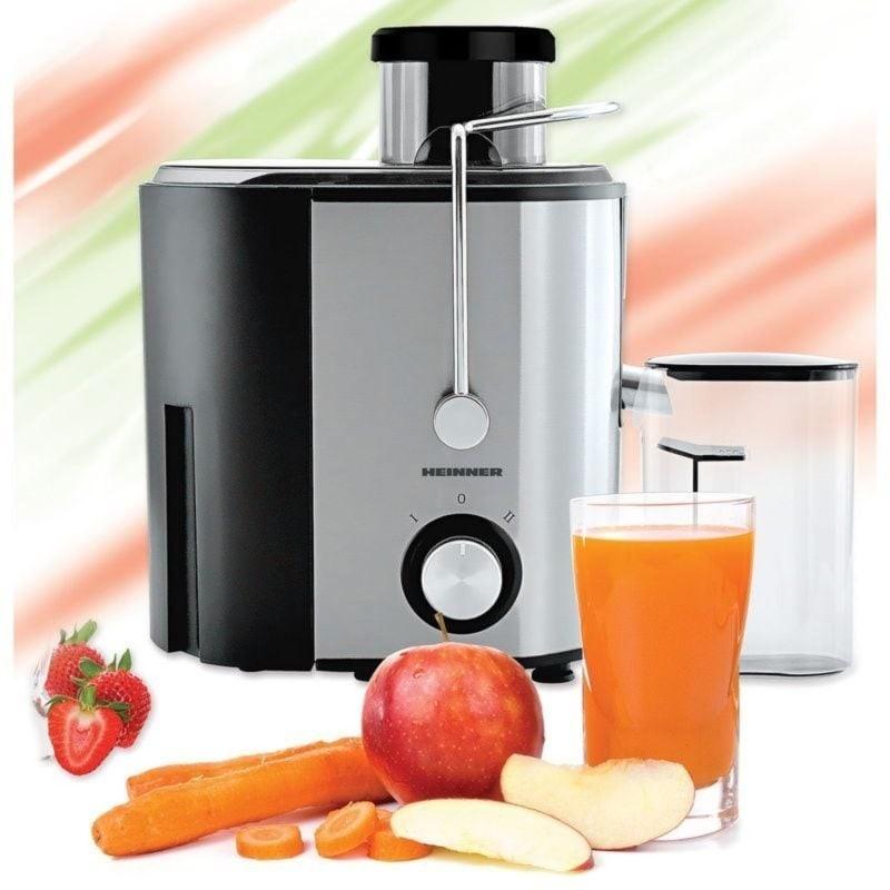 Storcator de fructe Heinner HSF 500S 500W Recipient pulpa 1.2l Recipient suc 350 ml 2 trepte de viteza Inox imagine techstar.ro 2021