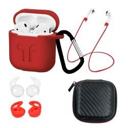 Set 6 accesorii AirPods, culoare rosie