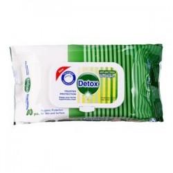 Servetele umede antibacteriene igienizante pentru maini, 80 buc/pachet verde, Detox