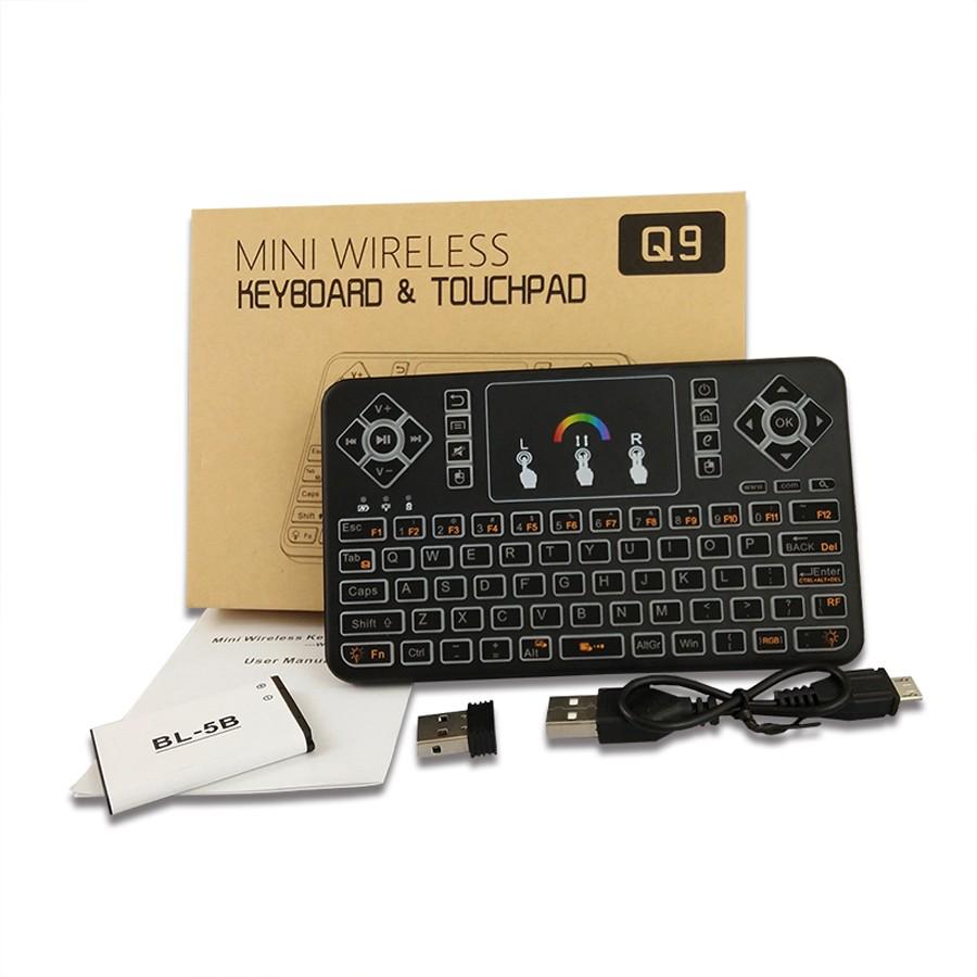 Tastatura Wireless Techstar® Q9 Iluminata RGB , QWERTY, Plug&Play, Tochpad, Tastatura, Mouse