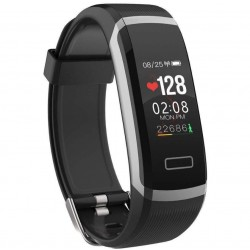 Bratara Techstar® Fitness GT101 Silver-Black, IPS, Bluetooth 4.0, Monitorizare Cardiaca, Somn, Activitati