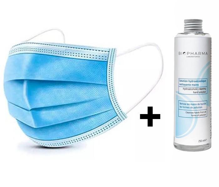 Set 50 buc Masca Protectie Respiratorie 3 straturi + Solutie igienizanta pentru maini 250ml imagine techstar.ro 2021