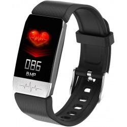 Bratara Fitness Techstar® T1S Negru, ECG, Puls, Oxigenarea Sangelui, Temperatura Corpului, Bluetooth, Sedentarism, Alerte