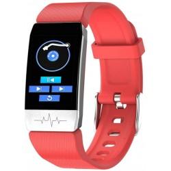 Bratara Fitness Techstar® T1 Rosu, ECG, Puls, Oxigenarea Sangelui, Temperatura Corpului, Bluetooth, Sedentarism, Alerte