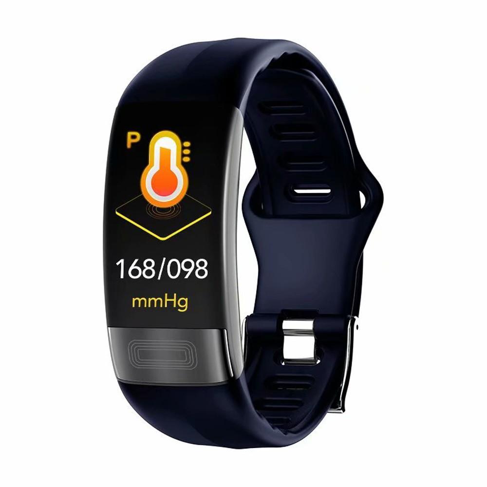 Bratara Fitness Techstar® P11 Albastru, ECG, Puls, Oxigenarea Sangelui, Temperatura Corpului, Bluetooth, Sedentarism, Alerte