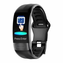 Bratara Fitness Techstar® P11 Negru, ECG, Puls, Oxigenarea Sangelui, Temperatura Corpului, Bluetooth, Sedentarism, Alerte