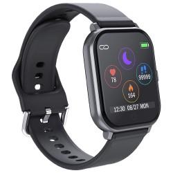 Ceas Smartwatch Techstar® T55 Negru, 1.3 inch IPS, Monitorizare Cardiaca, Tensiune, Sedentarism, Bluetooth 5.0
