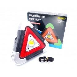 Lanterna multifunctionala 6609 in forma de triunghi reflectorizant, incarcare solara si power bank