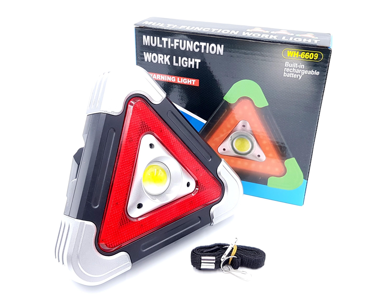 Lanterna multifunctionala 6609 in forma de triunghi reflectorizant, incarcare solara si power bank imagine techstar.ro 2021