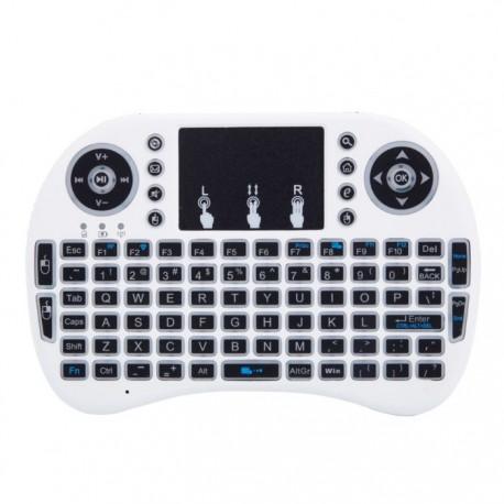 Tastatura Wireless Techstar® i8, Alb, Air Mouse Touchpad 2.4ghz pentru Android TV si Mini PC