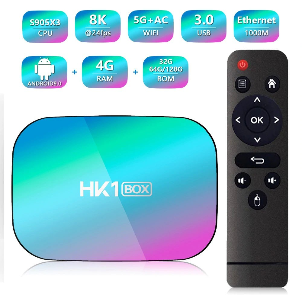 TV Box Techstar® HK1 BOX, Android 9.0, UltraHD 8K, 4K@ 60fps, 4GB RAM, 32GB ROM, 5G WiFi, Bluetooth 4.0, Cu IPTV, Model 2020 imagine techstar.ro 2021