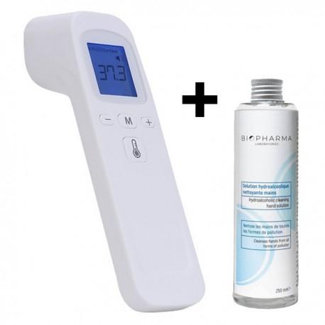 Termometru digital non contact cu infrarosu iUni T7 + Solutie igienizanta pentru maini 250ml