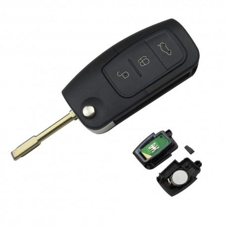 Cheie Auto Completa Techstar® Ford, Focus, Fiesta, Mondeo, 4D63, 433Mhz, FO21, 3 Butoane, Inchidere Geamuri