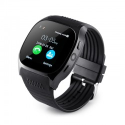 Ceas Smartwatch Techstar® T8 Negru, Cartela SIM, 1.54 inch, Apelare, Radio FM ,Alerte Sedentarism, Hidratare, Bluetooth 4.0