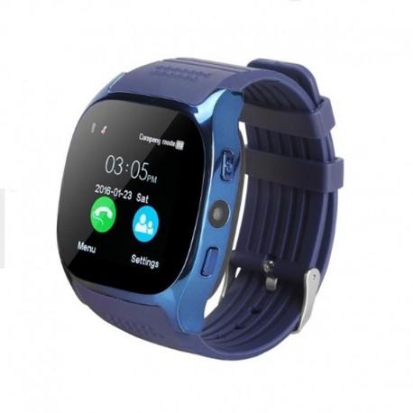 Ceas Smartwatch Techstar® T8 Albastru, Cartela SIM, 1.54 inch, Apelare, Radio FM ,Alerte Sedentarism, Hidratare, Bluetooth 4.0
