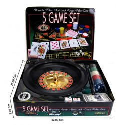 Joc 5 in 1 Ruleta, Poker, Black Jack, Craps, Poker Dice