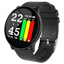 Ceas Smartwatch Techstar® W8 Negru, 1.3 inch IPS, Monitorizare Cardiaca, Tensiune. Oxigenare, Sedentary, Bluetooth, IP65